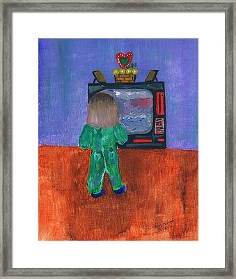 Watching Tv Framed Print by Melvin Moon