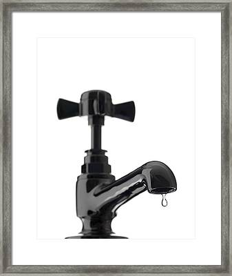 Water Dripping From A Tap Framed Print by Tek Image