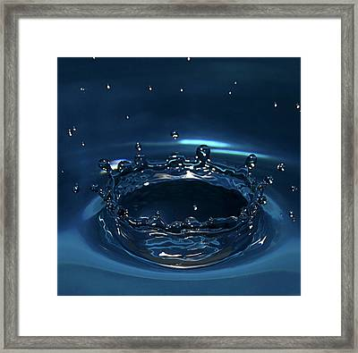 Water Drop Impact Framed Print by Linda Wright