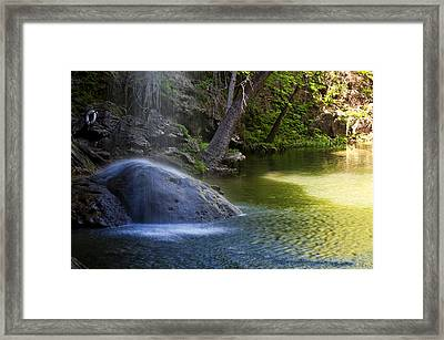 Water Falling On Rock Framed Print by Lisa  Spencer