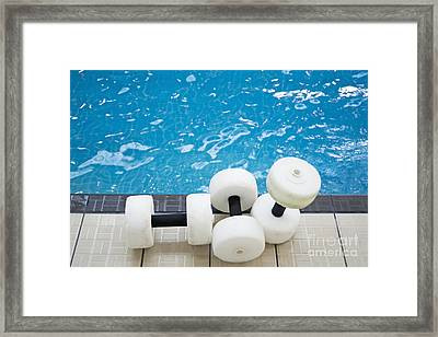 Water Floats At Poolside Framed Print by Marlene Ford
