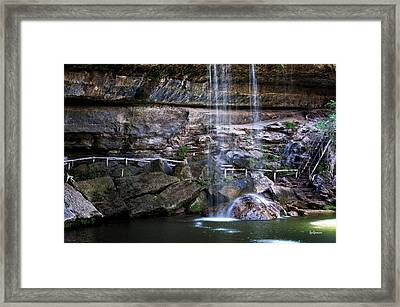 Water Flow Over A Rock At Hamilton Pool Framed Print by Lisa  Spencer