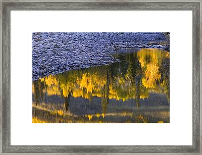 Water Reflections With A Rocky Shoreline Framed Print by Carson Ganci