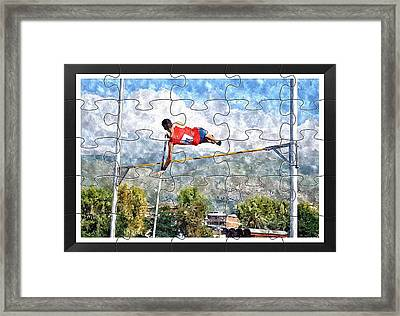 Watercoler Puzzle Design Of Pole Vault Jump Framed Print by John Vito Figorito