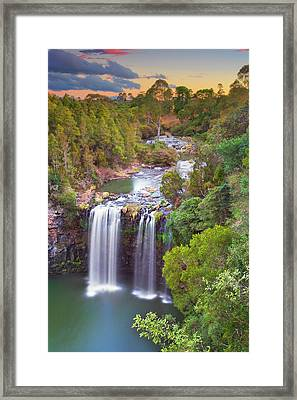 Waterfall At Sunset Framed Print by Yury Prokopenko