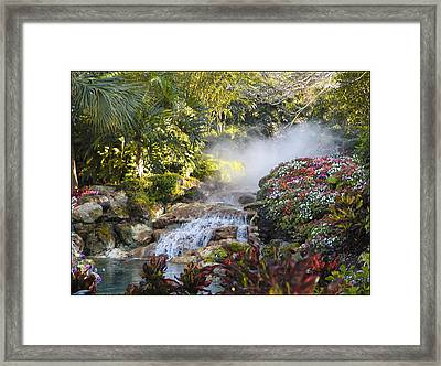 Waterfall In The Mist Framed Print by Barbara Middleton