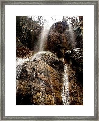 Waterfall Framed Print by Lucy D