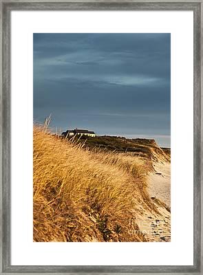Waterfront Beach Cottage Framed Print by John Greim