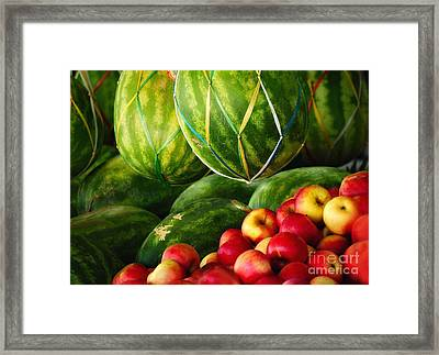 Watermellons And Apples Framed Print by Elaine Manley