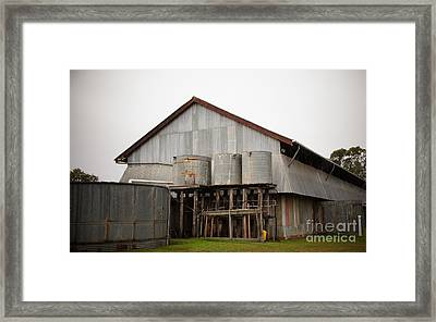 Watertanks And Shed Framed Print by Therese Alcorn