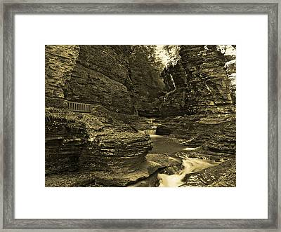 Watkins Glen In Orotone Framed Print by Joshua House
