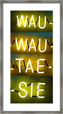 Wauwautaesie Neon 2 Framed Print by Geoff Strehlow