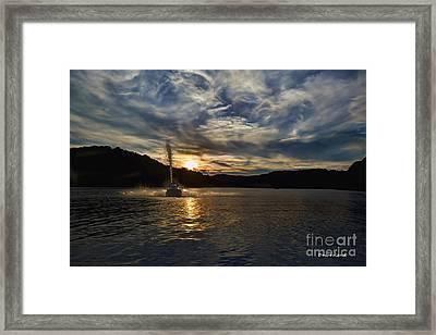 Wave Runner On Lake Evening Framed Print by Dan Friend