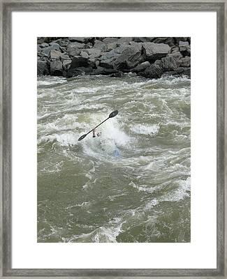 Wave Surfing Kayaker Goes Underwater Framed Print by Skip Brown