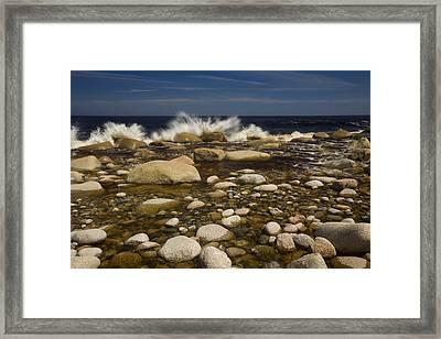 Waves Hitting Rocks, Anchor Brook Framed Print by John Sylvester