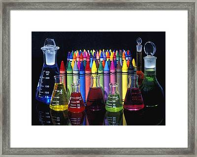 Wax Crayons And Measuring Flasks Framed Print by David Chapman
