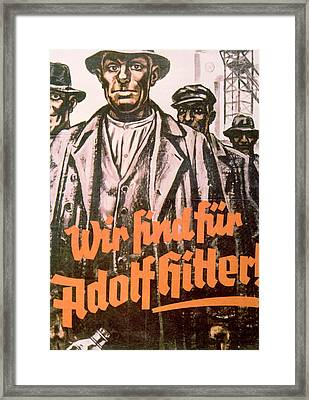 We Are For Adolf Hitler, Nazi Party Framed Print by Everett