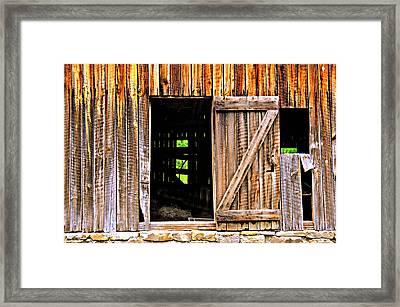 Weathered Barn Door Framed Print by Marty Koch