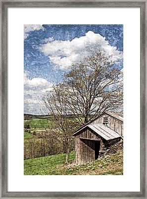 Weathered Hillside Barn Spring Framed Print by John Stephens