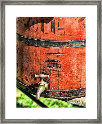 Weathered Red Oil Bucket Framed Print by Paul Ward