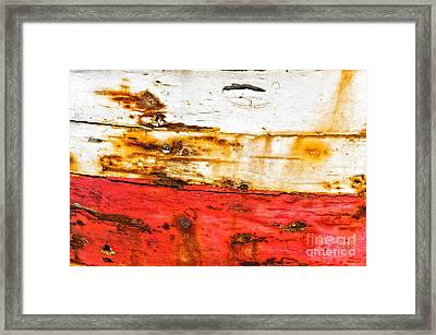 Weathered With Red Stripe Framed Print by Silvia Ganora