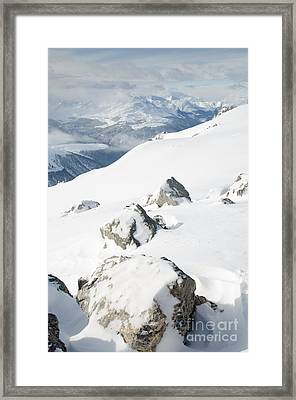Weissfluhgipfel Summit P View From Summit In Winter Framed Print by Andy Smy