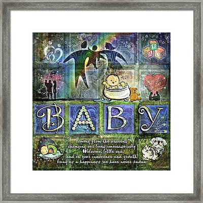 Welcome Baby Boy Framed Print by Evie Cook