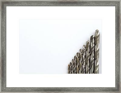 Well Used Twist Drill Bits On A White Background Framed Print by Chris Rose