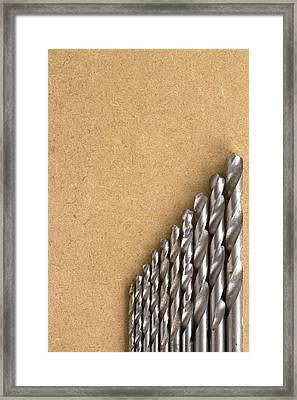 Well Used Twist Drill Bits On Mdf Board Framed Print by Chris Rose