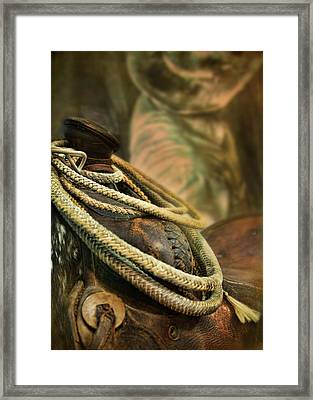 Western Style Saddle And Cowboy Framed Print by Melinda Moore