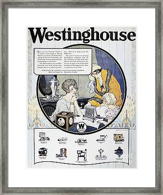 Westinghouse Ad, 1924 Framed Print by Granger