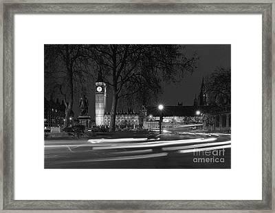 Westminster Night Traffic  Framed Print by Aldo Cervato
