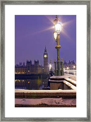 Westminster Snowfall Framed Print by Andrew Thomas