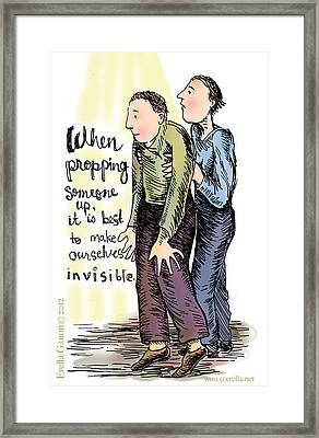 When Propping Someone Up Framed Print by Erella Ganon