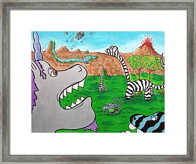 When Zebrasaurs Walked The Earth Framed Print by Jera Sky