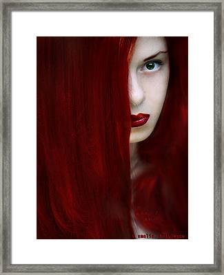 While Her Lips Are Still Red Framed Print by Amalia Iuliana Chitulescu