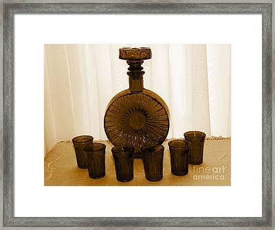 Whiskey Decanter In Sepia Framed Print by Barbara Griffin