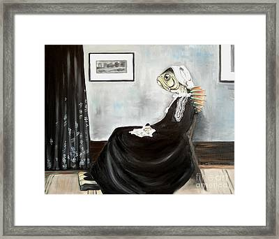 Whistler's Mother As A Fish Framed Print by Ellen Marcus