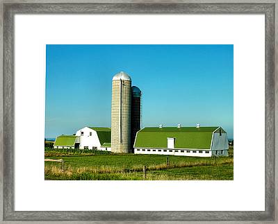 White And Green Barns Framed Print by Steven Ainsworth