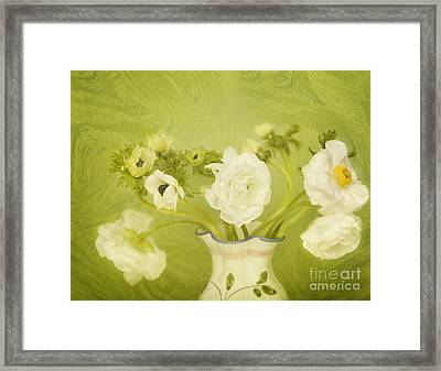 White Anemonies And Ranunculus On Green Framed Print by Susan Gary