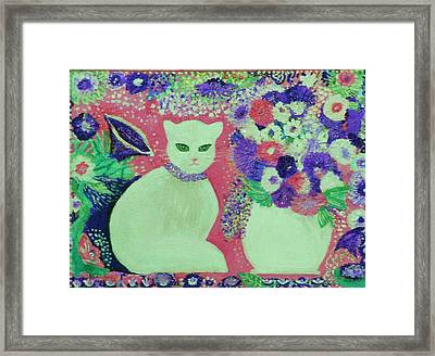 White Cat With Flowers All Around Framed Print by Anne-Elizabeth Whiteway