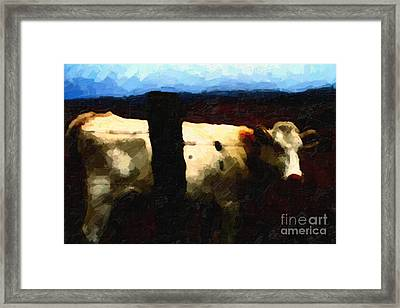 White Cow Behind Fence At Night Framed Print by Wingsdomain Art and Photography