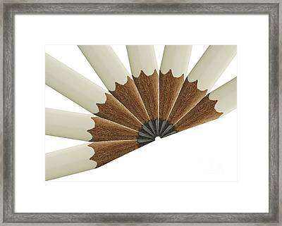 White Pencil Fan Framed Print by Blink Images