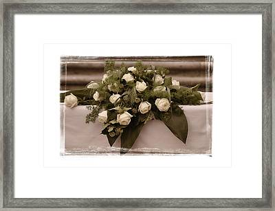 White Roses For The Wedding Framed Print by Mary Machare