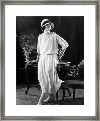 White Silk Knit Dress For Early Morning Framed Print by Everett