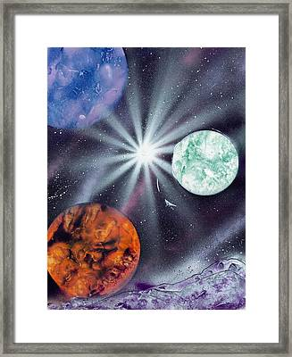 White Star Burst Framed Print by Marc Chambers