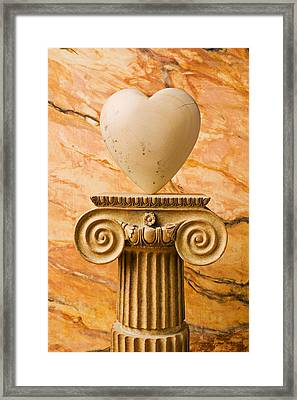 White Stone Heart On Pedestal Framed Print by Garry Gay