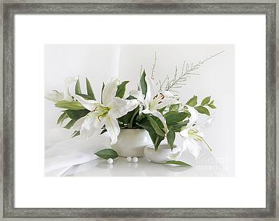 Whites Lilies Framed Print by Matild Balogh
