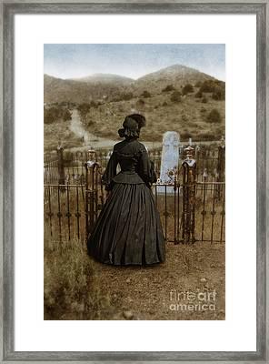 Widow At The Cemetery Framed Print by Jill Battaglia