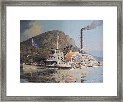 William G Muller Lithograph Towboat Syracuse  Framed Print by Jake Hartz